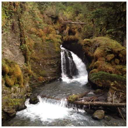 A waterfall in Girdwood, Alaska.